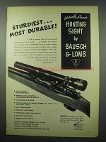 1953 Bausch & Lomb Variable Power Hunting Sight Ad - Sturdiest
