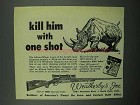 1953 Weatherby Magnum Rifle Ad - African Rhino
