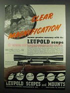 1952 Leupold Pioneer 4x Scope Ad - Clear Magnification