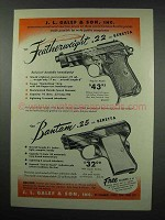 1952 Beretta Featherweight .22 and Bantam .25 Pistol Ad