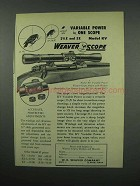 1952 Weaver KV Variable Power Scope Ad