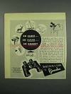1952 Bausch & Lomb Binocular Ad - So Close So Clear