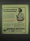 1952 Sierra Bullets Ad - First Woman Winner Fires