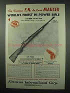1951 F.I. Ad - F.N. De Luxe Mauser Rifle - World's finest