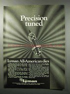 1970 Lyman All-American Dies Ad - Precision Tuned