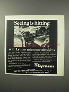 1970 Lyman Micrometic Sights Ad - Seeing is Hitting