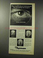 1969 Lyman Scopes Ad - World's Finest Instrument
