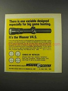 1969 Weaver V4.5 Scope Ad - For Big Game Hunting
