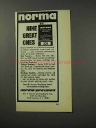 1969 Norma Smokeless Powder 203 Ad - Nine Great Ones