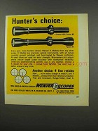 1968 Weaver K2.5 and K4 Scopes Ad - Hunter's Choice