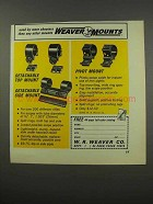 1967 Weaver Mounts Ad - Detachable Top, Side, Pivot