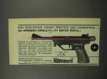 1967 Hammerli-Single .177 Match Pistol Ad
