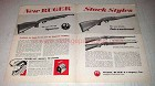 1966 Ruger .44 Magnum Carbine Ad - Its Own Class