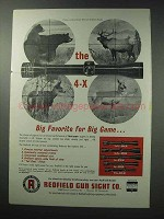 1964 Redfield 4-X Scope Ad - Big Favorite for Big Game