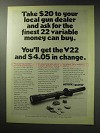 1971 Weaver V22 Scope Ad - Finest Money Can Buy
