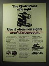 1971 Weaver Qwik-Point Rifle Sight Ad - Fast Enough