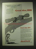 1971 Redfield Gun Sights Ad - Great Idea, 1928