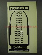 1971 Norma-Precision Ammunition Ad - Bullets Ammo