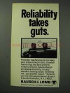 1971 Bausch & Lomb Scopes Ad - Reliability Takes Guts