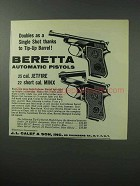 1962 Beretta Jetfire and Minx Pistols Ad, Tip-up Barrel