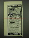 1962 Eddie Bauer Sleeping Bag Advertisement - Factory To You