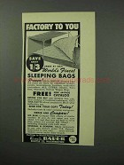 1961 Eddie Bauer Sleeping Bag Ad - Factory To You