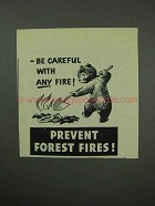 1961 Prevent Forest Fires Ad - Be Careful With Any Fire
