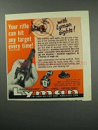 1960 Lyman Sights Ad - Hit Any Target Every Time