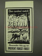 1960 Prevent Forest Fires Ad - One Careless Match