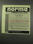 1959 Norma Ammunition Ad - Selected for Olympic Matches