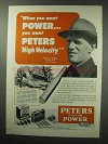 1950 Peters High Velocity Ammunition Ad - Power