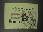 1950 Redfield Micrometer Receiver Sights Ad - Look, He Got