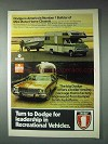 1973 Dodge Ad - Mini Motor Home Chassis, Trailer-Towing