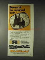 1973 Redfield Scopes Ad - Cockeyed Bear