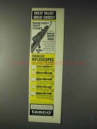 1973 Tasco Scopes Ad - 601T, 663A, 667V, 627W, 624V