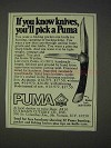 1972 Puma Game Warden #16-971 Knife Ad