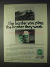 1969 Quaker State Motor Oil Ad - Harder You Play