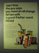 1969 Fram Oil Filter Ad - A Good 4-Letter Word