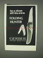 1969 Gerber Folding Hunter Knife Ad - Class All Its Own