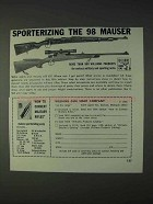 1968 Williams Gun Sight Ad - Sporterizing the 98 Mauser