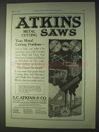 1922 Atkins Metal Cutting Saws Ad - Your Problem