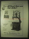1922 Oliver Ball Bearing Motor Shaft Band Saw Ad