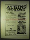 1922 Atkins Silver Steel Saws Ad - Straight Back, Skew