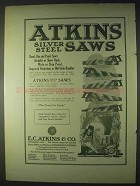 1922 Atkins Silver Steel Saws Ad - Hand, Rip, Panel