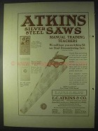 1922 Atkins Silver Steel Saws Ad - Training Teachers