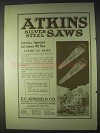 1922 Atkins Silver Steel Saws Ad - Instructors