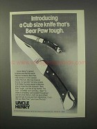 1981 Schrade Uncle Henry Bear Paw LB7, Cub LB1 Knive Ad
