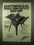1979 Sears Craftsman 10-In. Table Saw Outfit Ad