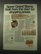 1978 Speer Grand Slam Ammunition Ad - Stopping Power