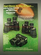 1978 Tasco Binoculars Ad - Get Close to the Action